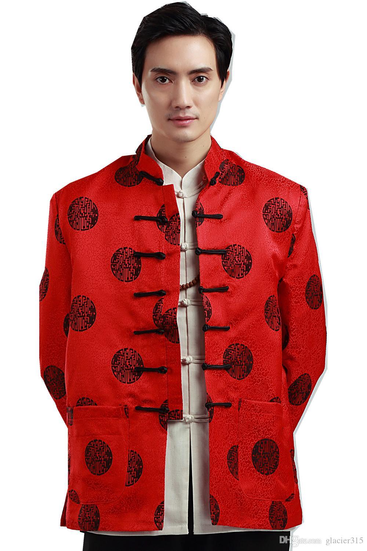 Shanghai Story manica lunga cinese tradizionale abbigliamento cinese pulsante giacca da uomo da uomo colletto alla coreana rosso giacca drago per uomo