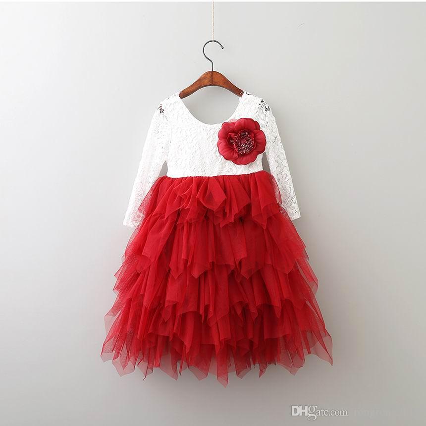 Vendita al dettaglio delle nuove ragazze pizzo Abito Fiore Tiered Tulle maxi vestito a maniche lunghe principessa per il partito di nozze vestiti dei bambini 1-10Y E17104
