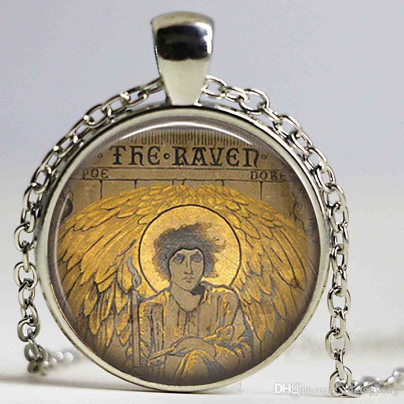 EDGAR ALLAN POE The Raven collana Ciondolo letterario Jewerly Writer Reader Regalo Halloween Portachiavi Spooky Jewerly San Valentino