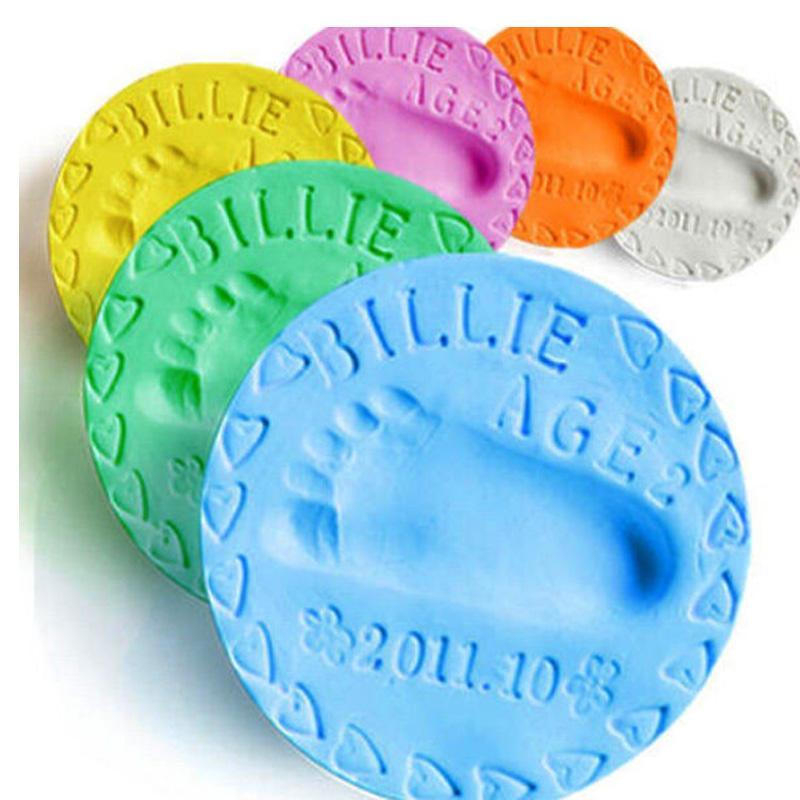 6 colores para el cuidado del bebé Secado con aire Suave arcilla Bebé Huella Huella Huella Huella de impresión Kit Casting Pata de tinta de mano de padre e hijo