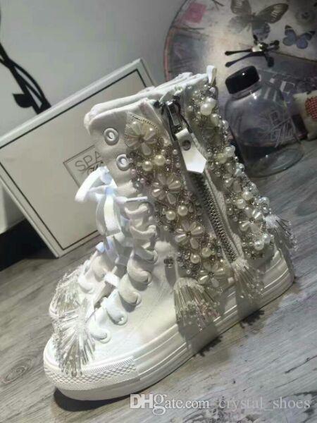 الأزياء الدانتيل يصل النساء الأحذية قصيرة 2017 auutmn جديد الشقق أسافين والاحذية امرأة المصارع اللؤلؤ الكريستال قماش أحذية سيدة الأحذية
