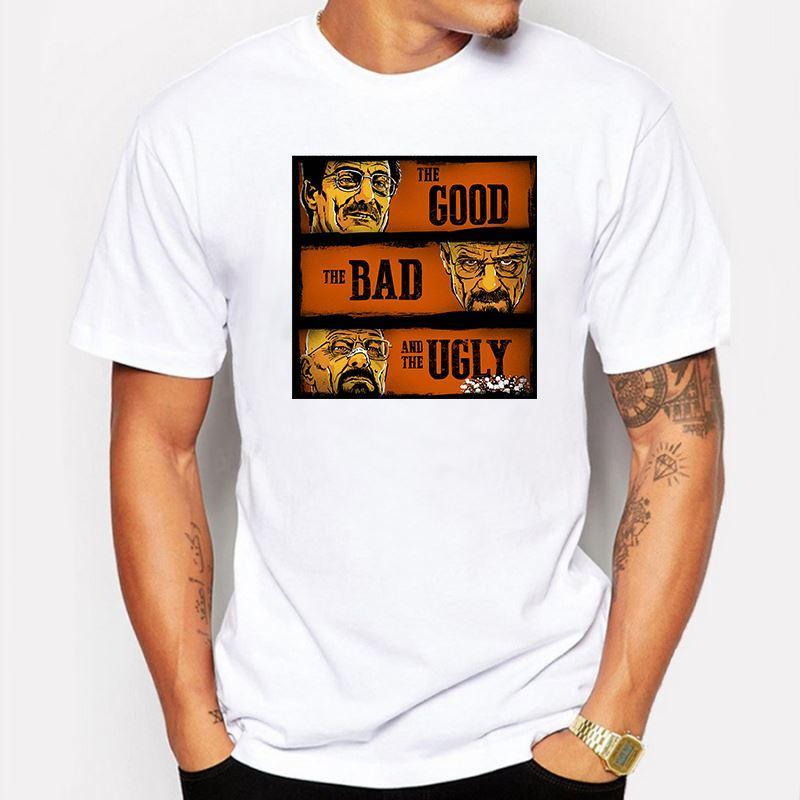 Мужская одежда лето Breaking bad футболки мужчины Гейзенберг хорошо Breaking Bad и уродливые с коротким рукавом повседневная белая футболка homme