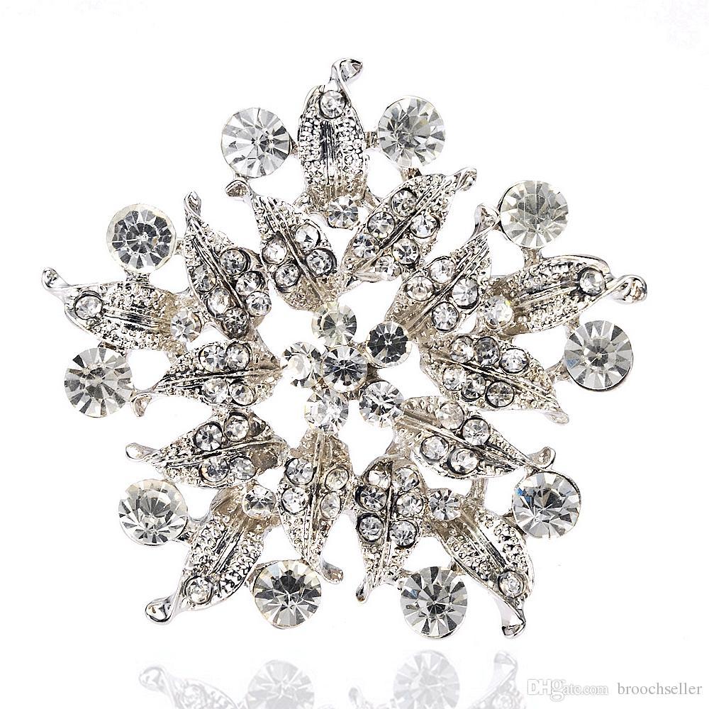 2 polegadas de ródio chapeamento de strass cristal Diamante folha flor redonda em forma de broche