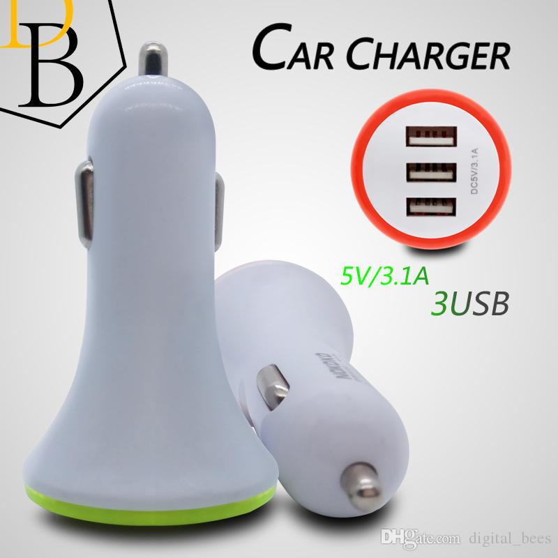 Universial Car Charger 3USB 3.1A Port IC protection LED Lighting Colorful circle Power Adapter Car charging for Iphone 7 Samsung S8