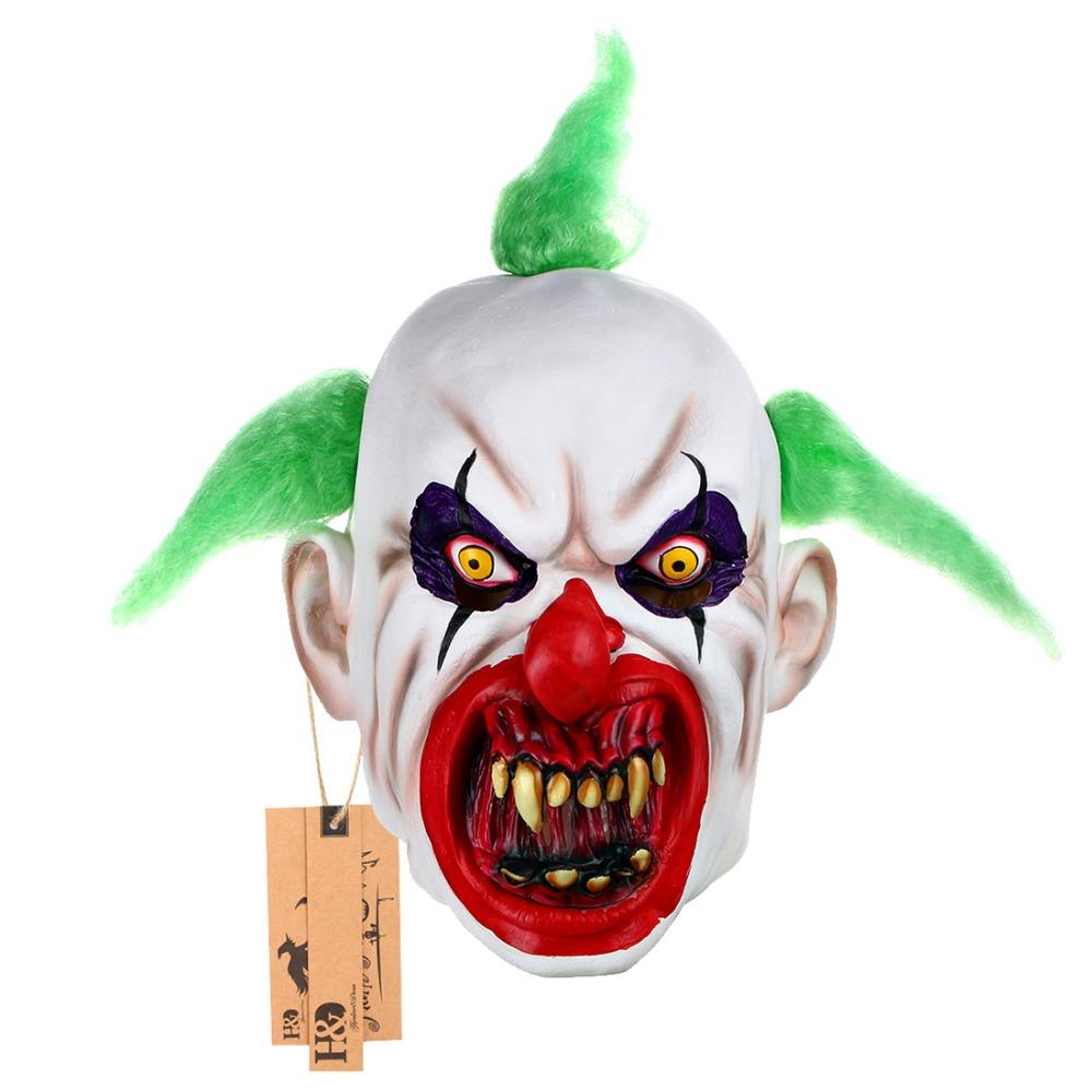 Scary Clown Mask Green Hair Buck Dientes Full Face Horror Masquerade Adult Ghost Party Mask Disfraces de Halloween Disfraces Disfraces