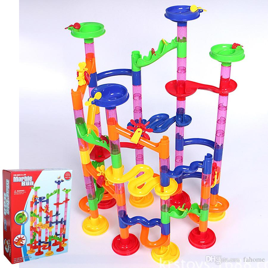 대리석 실행 코스터 105 조각, DIY 빌딩 블록 대리석 인종. 모든 가족을위한 DIY 건설 미로 장난감. 클래식 무한 트랙 킷