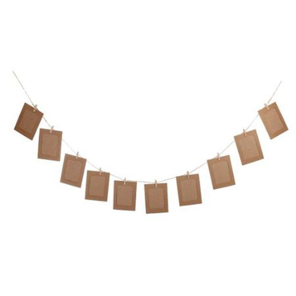 10pcs DIY 6inch Hanging Album Clip Kraft Paper Photo Frame Strings Rope Clips Sets for Wedding Decoration Garland