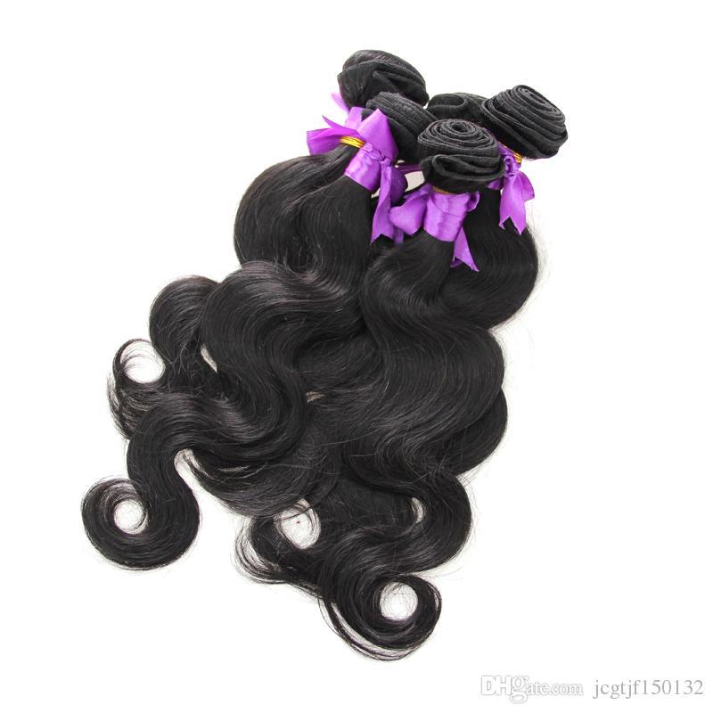 100% human hair weaving Body Wave weave Natural Black 5pcs brazilian virgin hair bundles double drawn,No shedding,tangle free