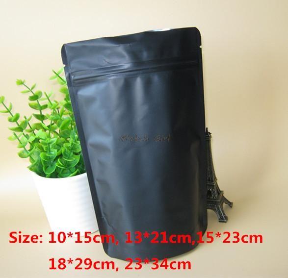50 pçs / lote-5 tamanho 270mic Matt Preto Saco Da Folha De Alumínio Stand Up Zipper Bolsa Resealable Retail Storage Bag Embalagem