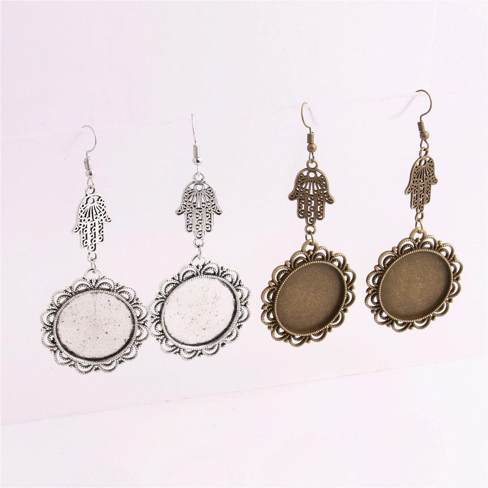 SWEET BELL 12pcs/lot Metal Alloy Zinc Hamsa Hand Charm Fit 25mm Cabochon Set Pendant Drop Earing Diy Jewelry Making C0778