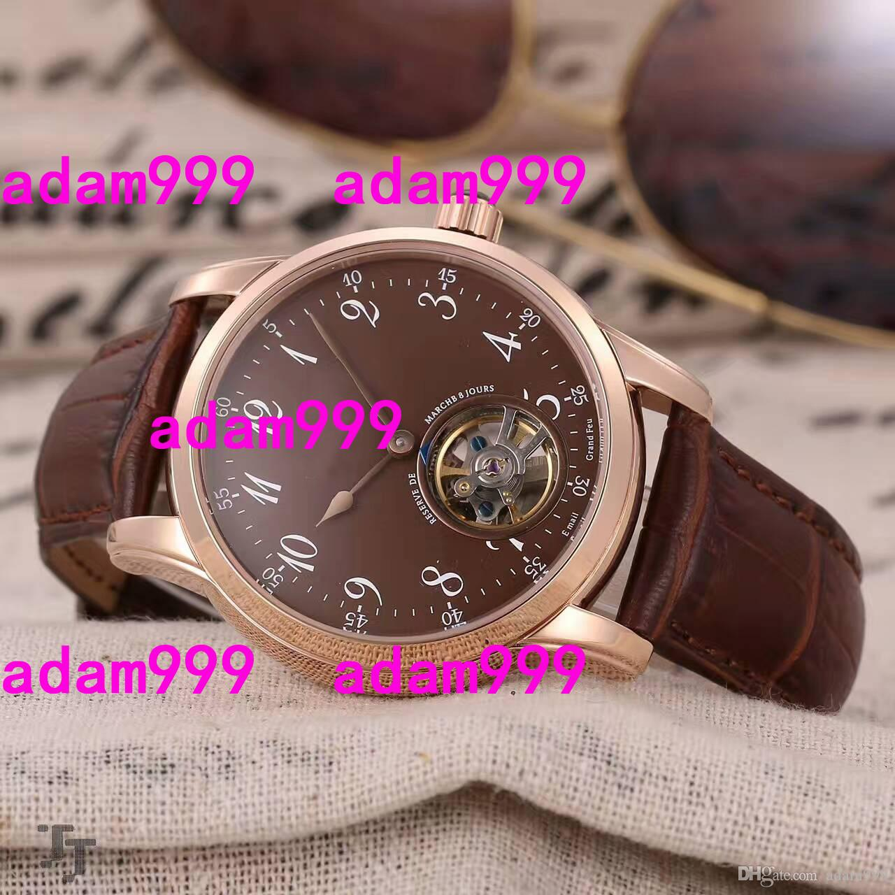 Luxus-Top-Marke Mens Automatic Movement mechanische Tourbillon Uhren Rose Gold Stainelss Brown Dial Lederband Männer Business-Armbanduhr