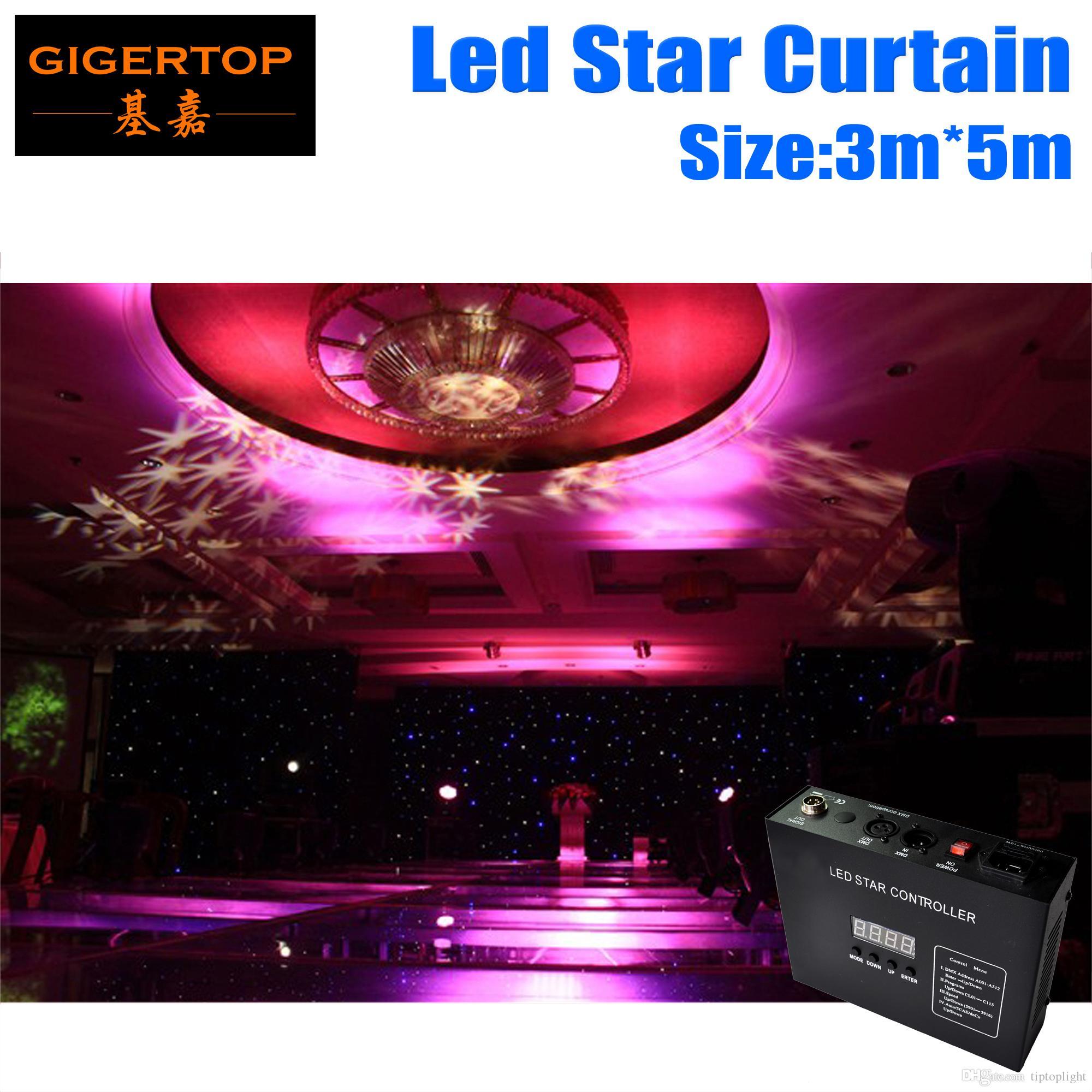 Freeshipping 3m * 5 M LED Zasłona Star do LED Scena Tło Ognioszczelne Zasłony Aksamitne Materiały RGBW Kolor 50mm LED Star Cloth + Controller