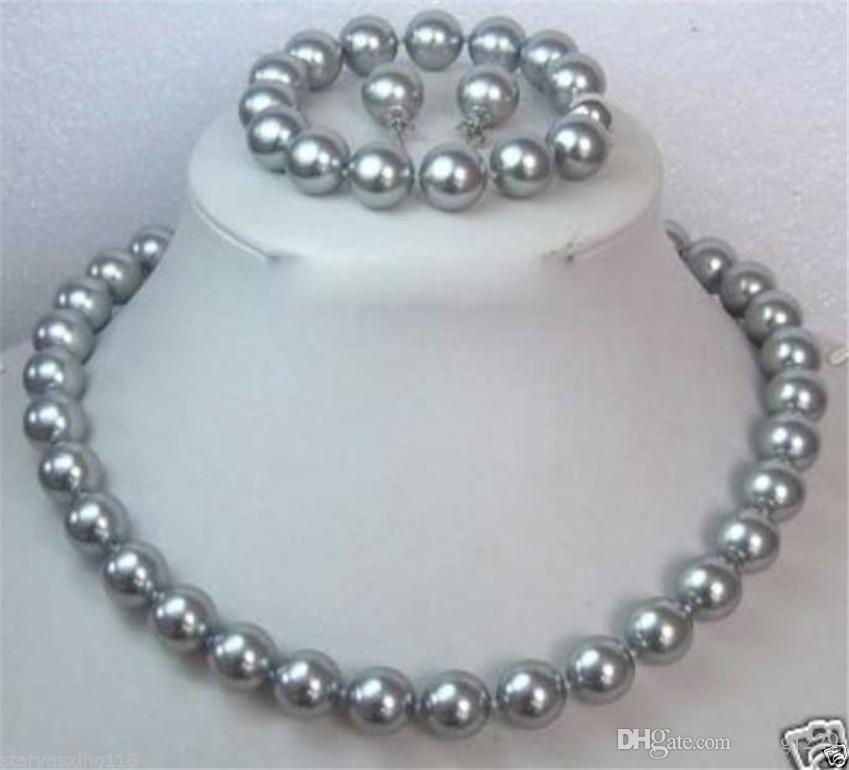 Set di orecchini / orecchini con collana di perle di conchiglia grigio mare del sud di 10 mm