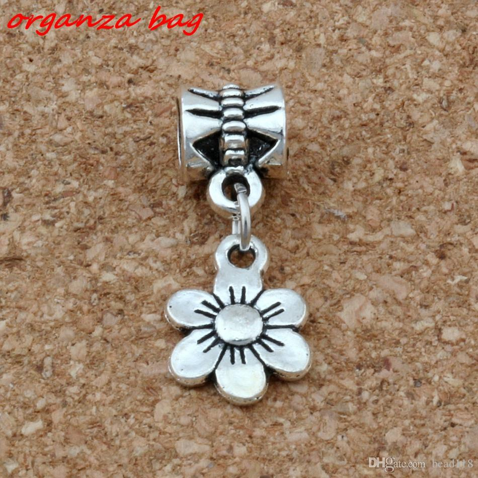 Mic 100 stks / partij Dangle Ancient Silver Flower Charms Big Hole Beads Fit European Charm Armband Sieraden 9.5 * 25mm A-119A