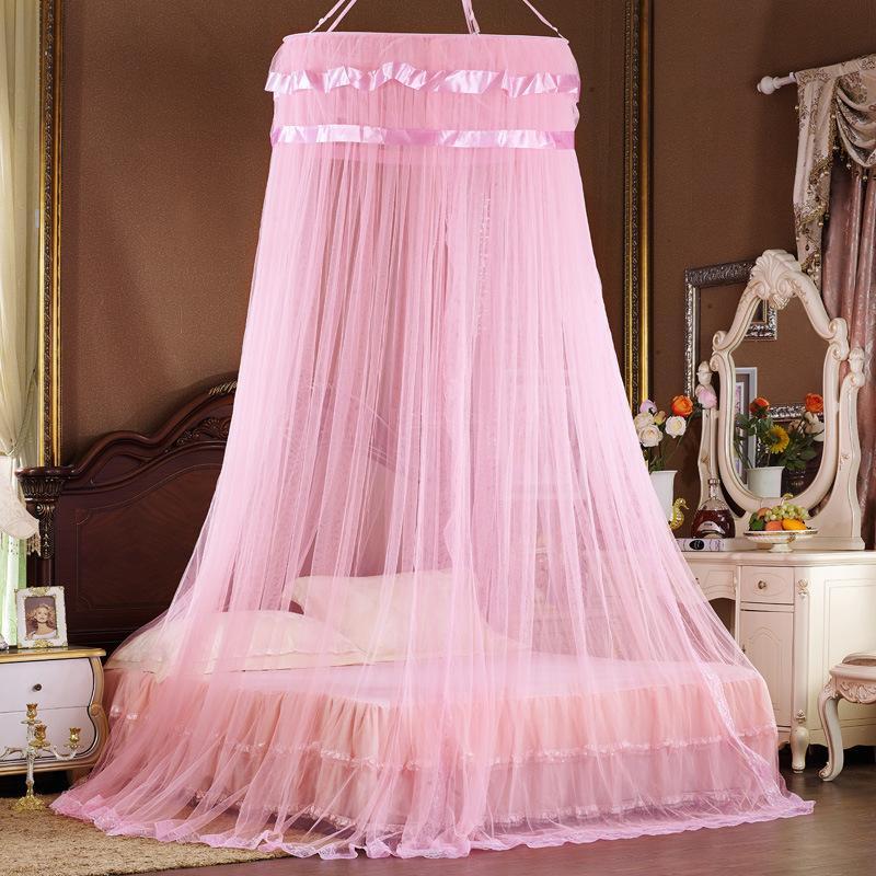 Moda Princesa Bed Canopy Cortina Rede Hung Dome Circular Rodada Mosquito Net House Cama