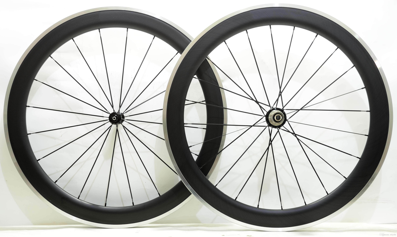 무료 배송 합금 브레이크 표면 Wheelset 60mm 깊이 23mm 폭 알루미늄 브레이크 탄소 도로 자전거 바퀴와 Powerway R36 허브