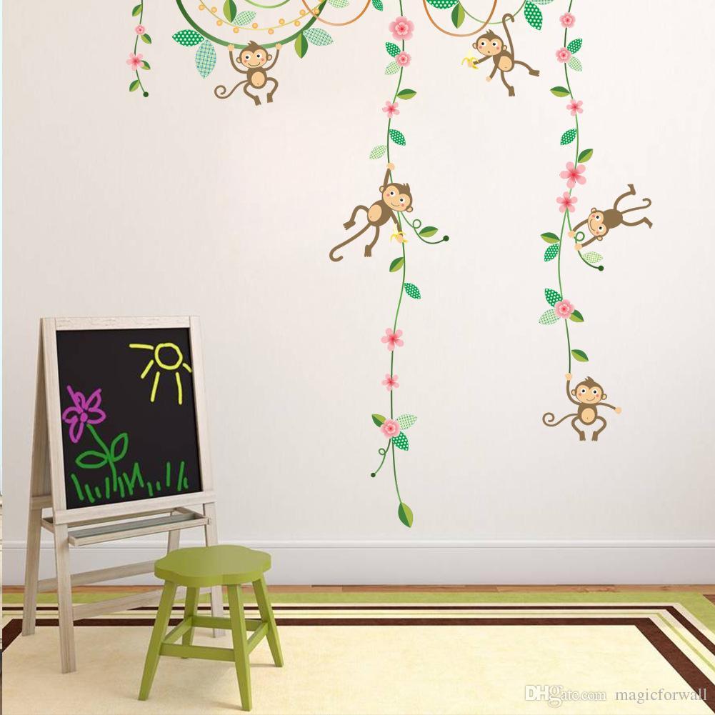 kids wall decal etsy 25 best nursery wall decals ideas on cartoon monkey climbing flower vine wall decals kids room nursery wall decals kids room