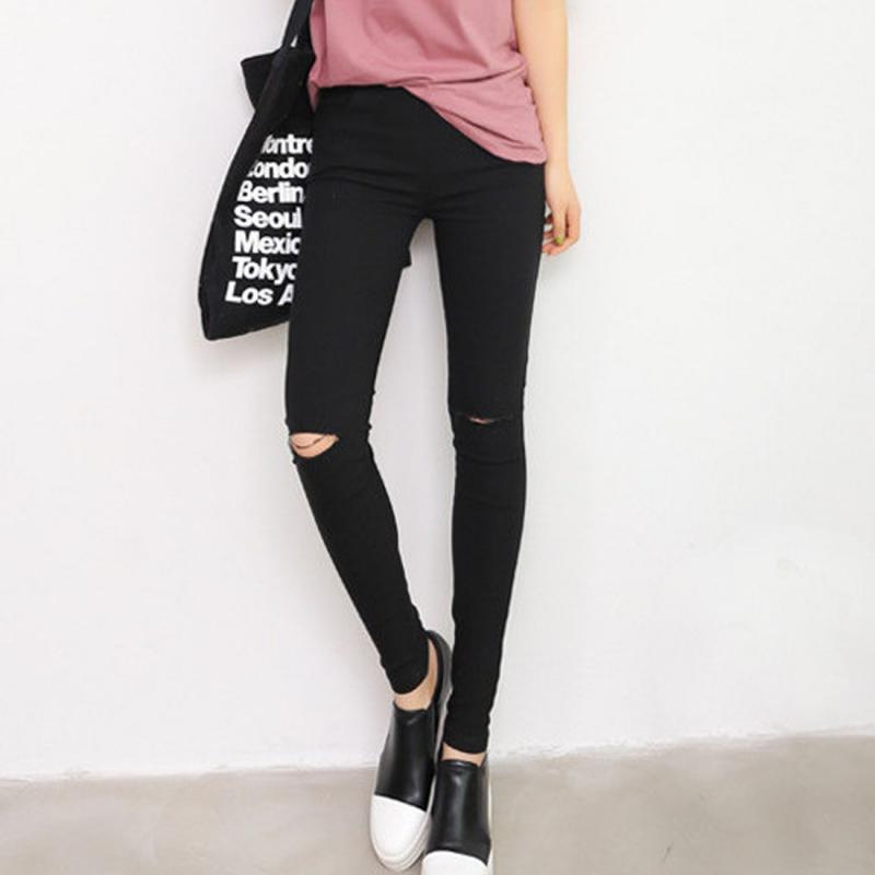 2016 Femmes Vintage Trou Déchiré Jeans Élasticité Taille Haute Jeans Maigre Femmes Crayon Denim Pants Jeans Femme Mujer Plus La Taille
