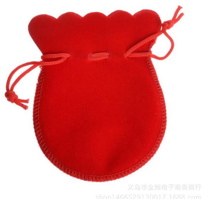 Epackfree 300Pcs Lot 5 * 5cm Rosso velluto con coulisse regalo sacchetti di gioielli sacchetti di gioielli
