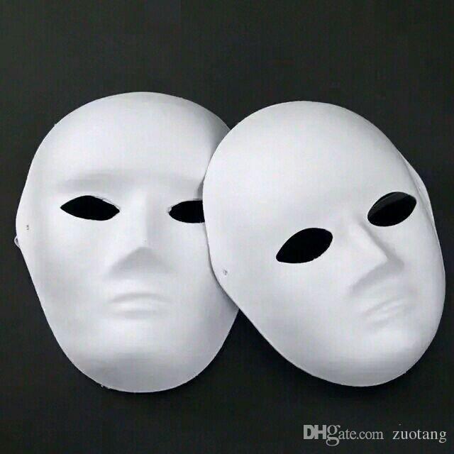 Pappersmassa vanlig vit fulla ansiktsmasker för män kvinnor ommålade tomt diy konst måla masquerade masker nettovikt 40g 50pcs / parti