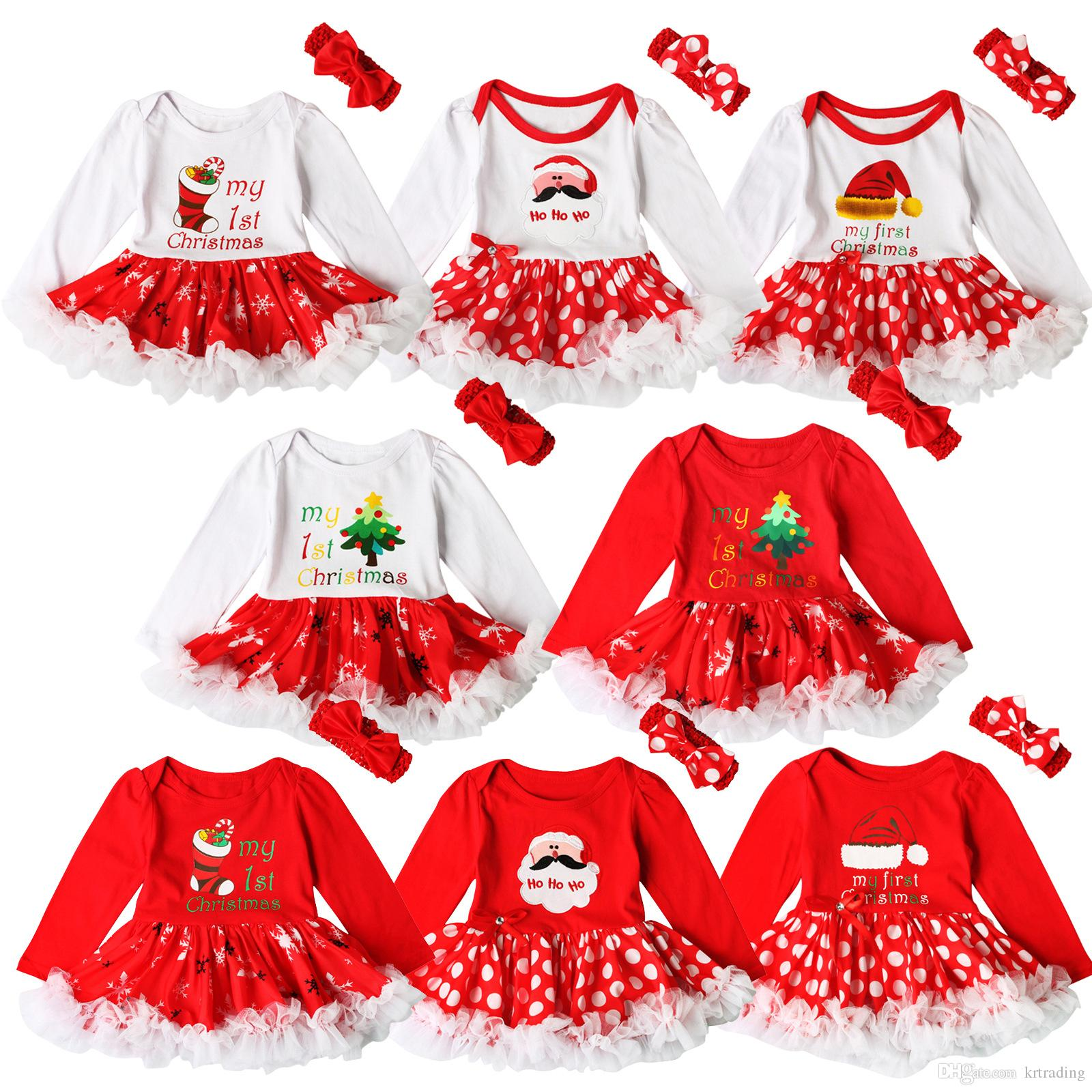 Bebek kız Noel baskı Kırmızı elbise 2 adet setleri tığ işi yay bandı + Noel desen romper Bebekler ilk noel hediyeleri sevimli kıyafetler ins