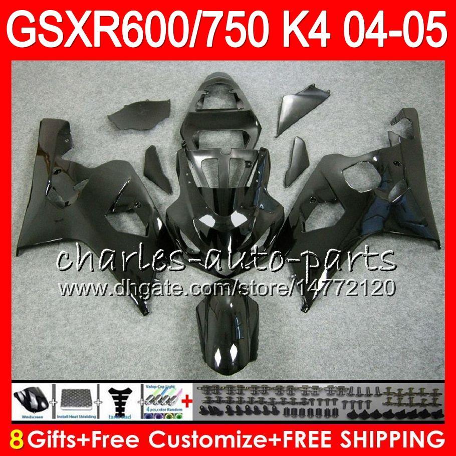 8 Geschenken 23 kleuren Lichaam voor Suzuki GSX-R600 GSXR750 GSXR600 04 05 9HM33 GSX R600 R750 K4 GLOSS BLACK GSX-R750 GSXR 600 750 2004 2005 Kuip