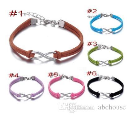 Signe infini en argent doré avec une chaîne réglable Bracelet 8 bracelets de caractère Bracelet en cuir bracelets infini MOQ 30 pcs