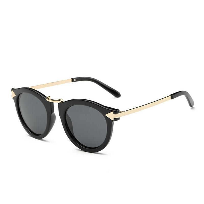 الرجعية جولة طلاء النظارات المستقطبة النساء العلامة التجارية مصمم خمر نظارات الشمس امرأة السهم المعدني الاستقطاب النظارات بالجملة