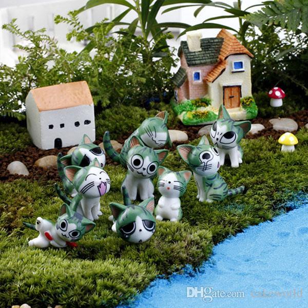 9pcs Cartoon chi è dolce casa Cute Cat Resina Craft garden home Miniature Jardin decorazione microlandschaft terrari in vaso Decorazione FAI DA TE
