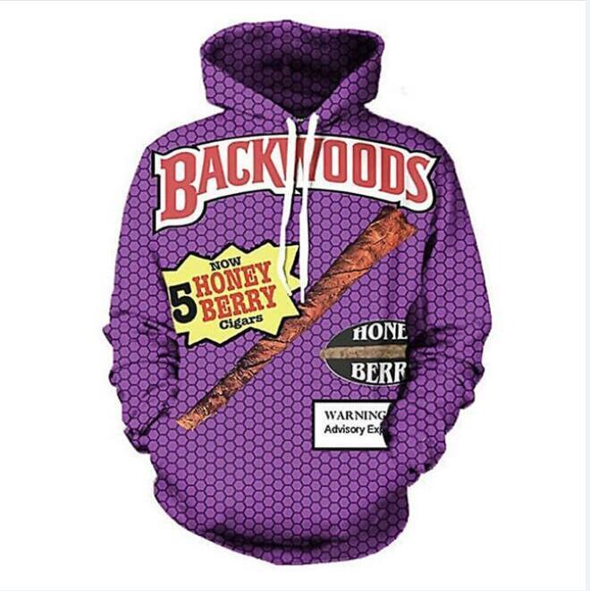 Nueva moda hip hop 3d sudaderas con capucha estilo harajuku Backwoods impreso mujeres / hombres sudadera con capucha streetwear sudaderas con capucha LMS0019