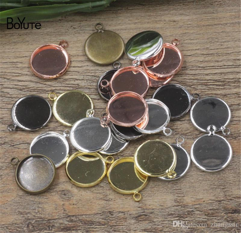 BoYuTe (50 Pieces/Lot) Wholesale 18MM Cameo Cabochon Base Blank Tray Bezel Diy Hand Made Jewelry Pendant Settings