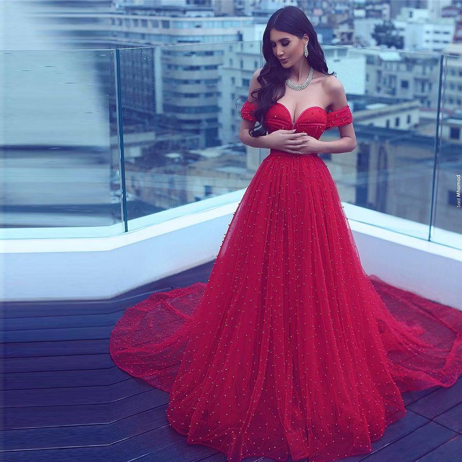Saidmhamad Arabia Saudita fuera del hombro Cristales Rojos Pearl Beading Dressing Sexy Sweetheart Vestidos de noche Vestidos de fiesta