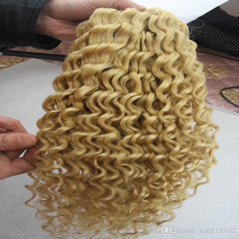 Cabelo brasileiro loiro encaracolado kinky Encaracolado Feixes de Cabelo Humano 100g 1 pcs tecer cabelo loiro Não-remy Tecelagem