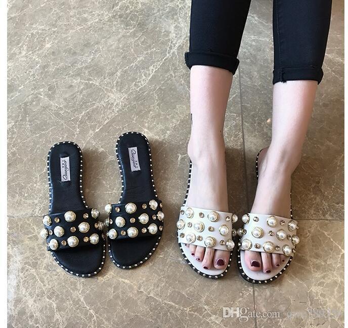 Compre Qwe789356Dhgate Del Pisos Moda com Perlas Alta Calidad Chanclas De Sandalias A17 Mujeres Zapatillas 09 Y7bf6gyv