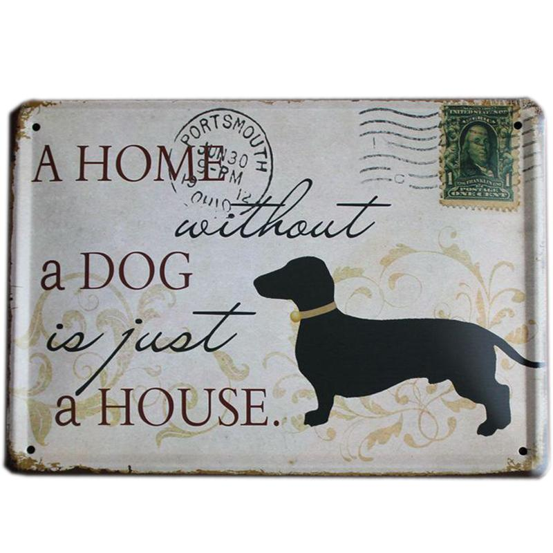 Wholesale- [ Mike86 ] A HOME WITHOUT A DOG Retro stamps Tin Signs Wall Art decor Bar Vintage Metal Craft ainting K-94 Mix Item 15*21 CM