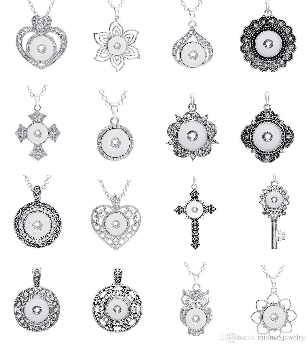 nuovi 10 pezzi assortiti donne argento zenzero 18 millimetri bottoni a pressione pezzi di fascino ciondolo collane all'ingrosso lotti
