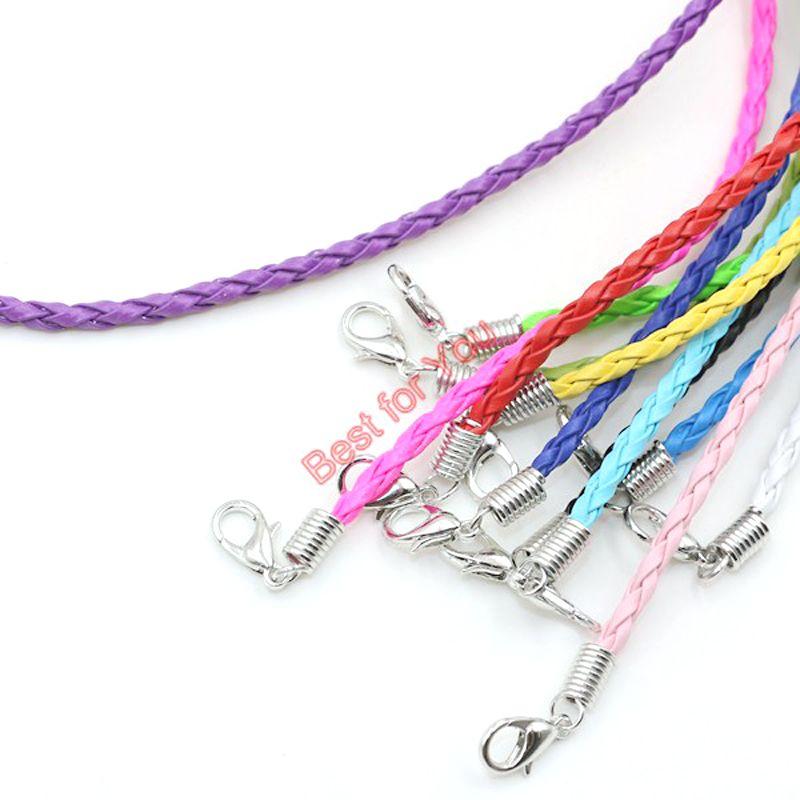 Gros-50 pcs Espoir Cancer Du Sein Ruban De Sensibilisation Charme Pendentif En Cuir Corde Cham Bracelet Fit pour Bracelet Européen À La Main Artisanat DIY