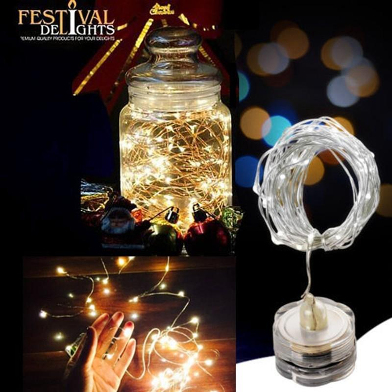 2M 20 LED Waterproof String Lights CR2032 Battery Operation For Xmas Garland Party Wedding Decoration Christmas Submersible Fairy Lights