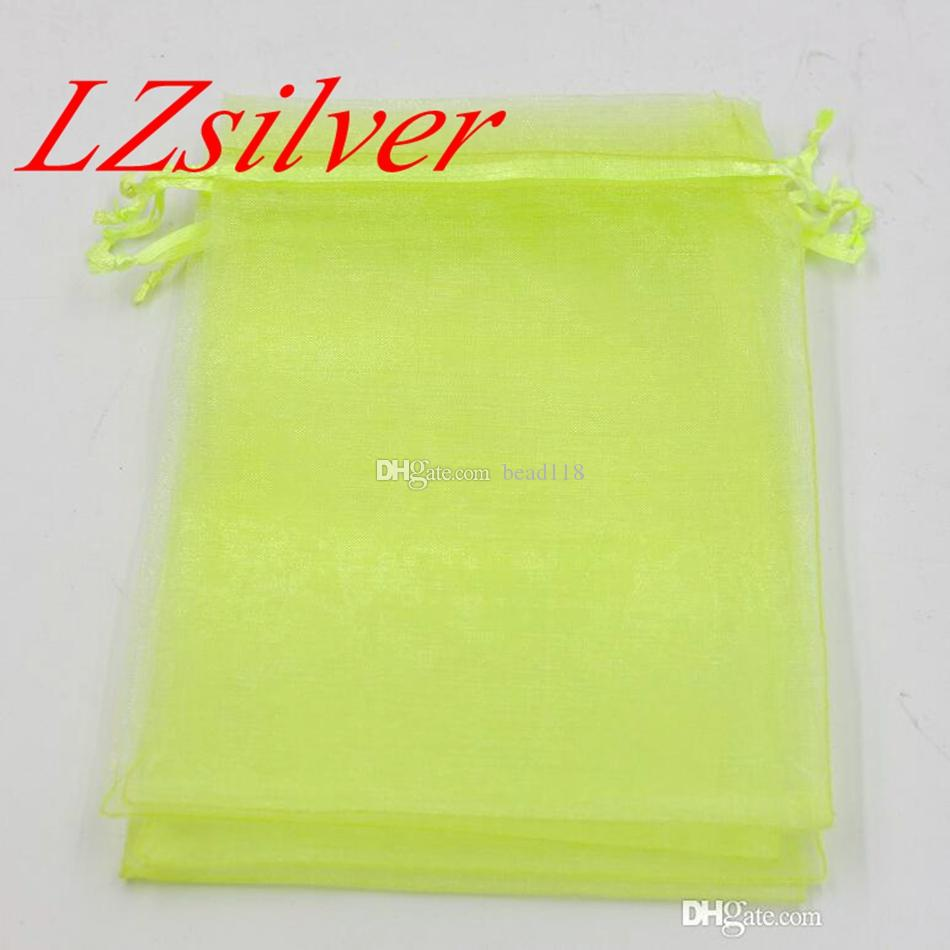 Hot Sales ! 100pcs Fruit Green With Drawstring Organza Gift Bags 7x9cm 9x11cm 10x15cm etc. Wedding Party Christmas Favor Gift Bags