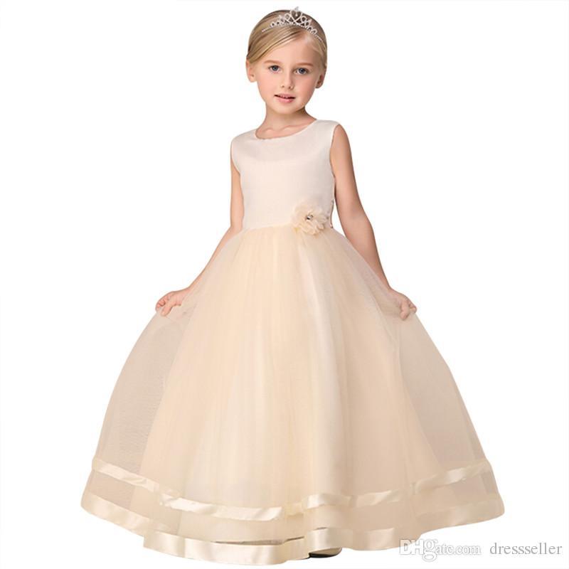 2017 Yeni Varış Yaz Çiçek Kız Elbise Için Bebek Kız Düğün Parti Elbise Kız Giysileri Prenses A-Line Balo