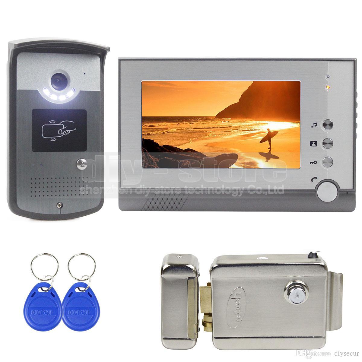 2 monitores interfono con 7 pulgadas 1 c/ámara para casa unifamiliar Sistema de intercomunicador con timbre de videoportero visi/ón nocturna c/ámara infrarroja TFT-LCD en color de bloqueo el/éctrico