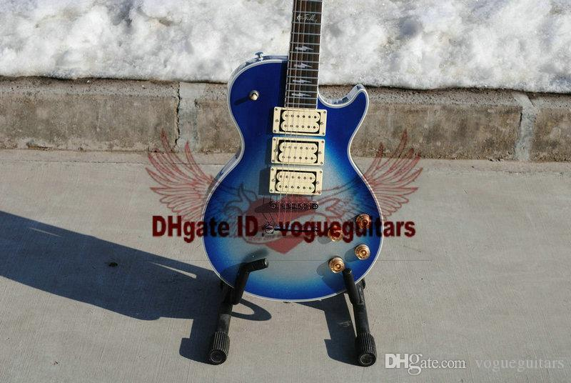 new arrival Custom Shop Ace frehley blue Silver Body Electric Guitar Free Shipping