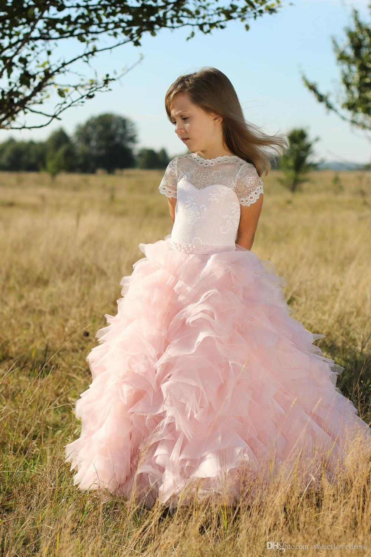 블러쉬 핑크 레이스 얇은 명주 그물 플라워 웨딩 드레스 결혼식을 위해 짧은 소매 프릴 꿈 아이를위한 미식가 드레스