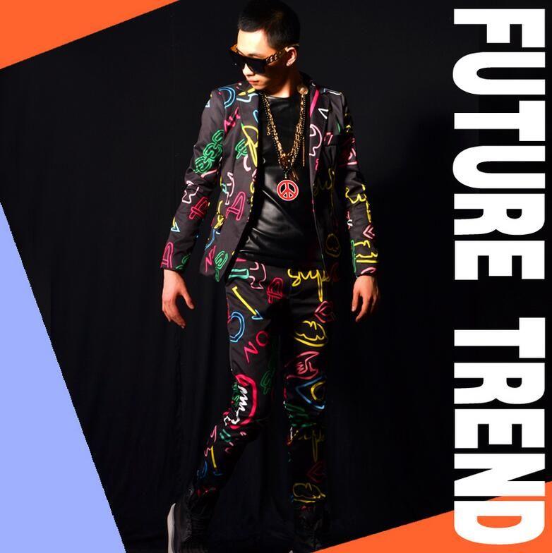 Atacado-Frete grátis Men novo cantor masculino DS DJ direito Zhilong GD neon cores ternos, bares homens boates trajes jaqueta casaco vestido
