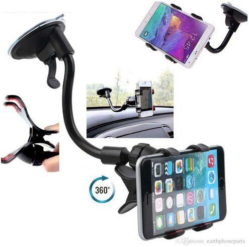 Support de montage universel pour support de pare-brise de voiture à 360 ° pour iPhone Samsung GPS PDA téléphone mobile noir (DB-024)
