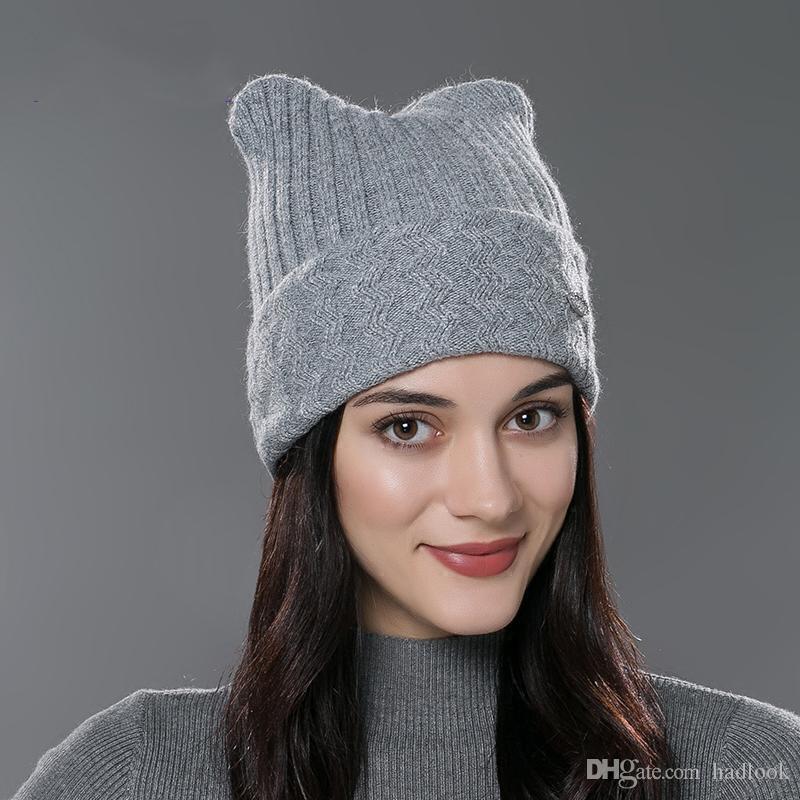 부모 - 자식 사랑스러운 고양이의 귀를 들어 브랜드 2016 새로운 겨울 코튼 니트 모자는 귀여운 캐주얼 모자 새로운 도착 Gorros을 비니