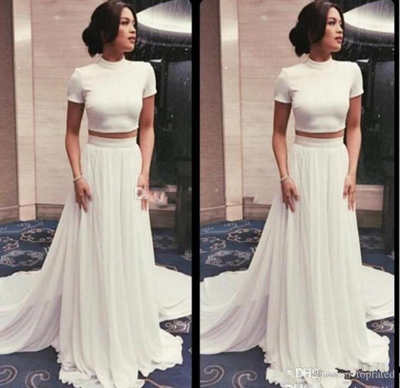 Summer Beach Simple Bohemia Ivory Sheath Wedding Dresses High Neck with Short Sleeves Two Piece Chiffon 2019 Cheap Bridal Formal Party Gowns