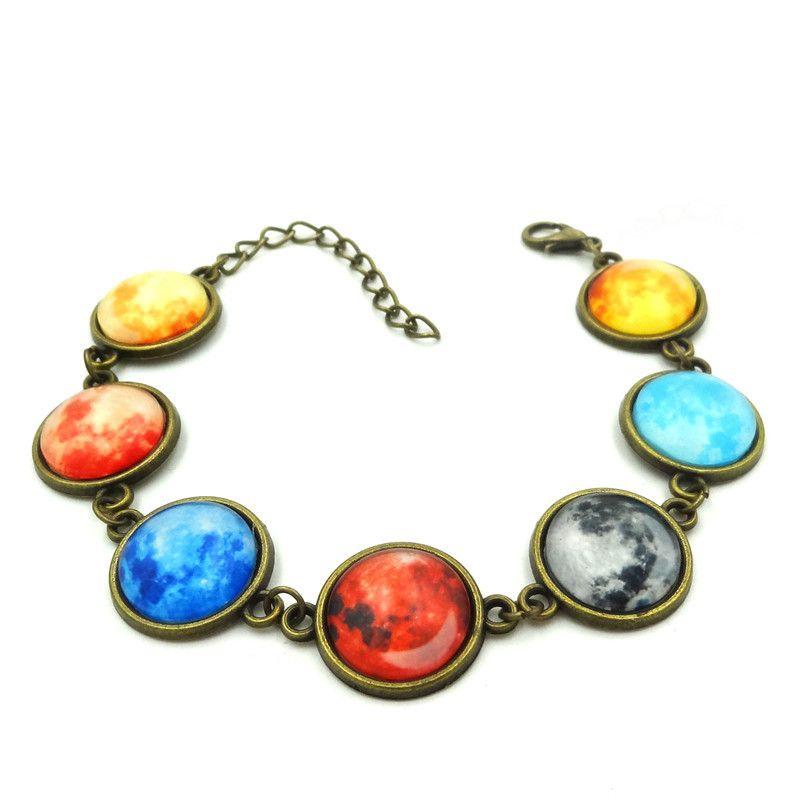 5pcs Vintage Charm Bracelet 7 Colors Galaxy Planet Glass Cabochon Handcrafted Jewelry Ancient Bronze Chain Bracelets for Women Gift