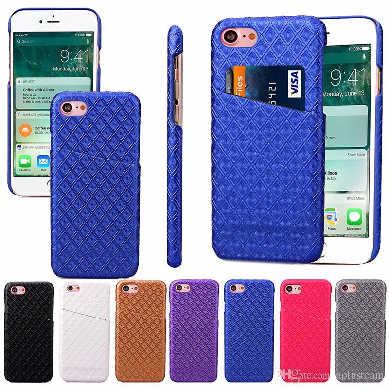 """Elmas Onay Desen Telefon Arka Kapak Kredi Kartı Yuvası PU Deri Telefon Kılıf iPhone 6 6s 7 Artı Samsung S7 S7Edge? 4.7 """"-5.5"""""""
