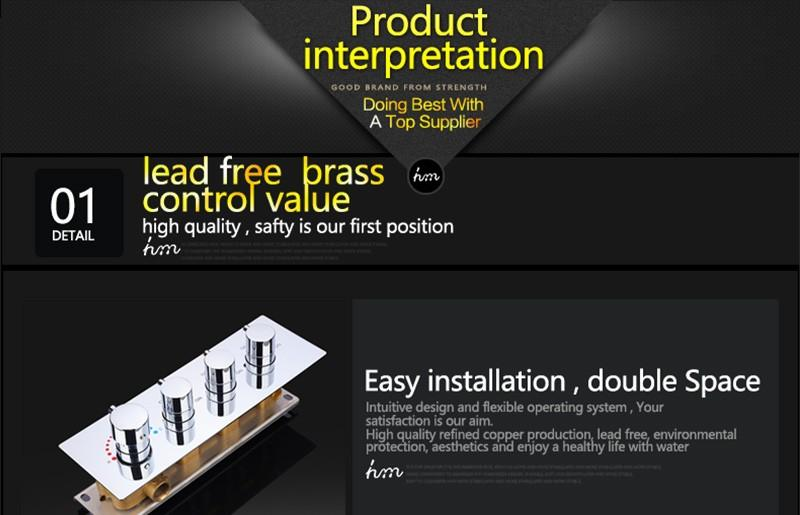 hm LED Rain Shower Set with 2 Lights with Handshower Body Jet Massage Thermostatic Mixer Bathroom Ceiling (15)